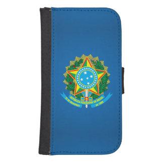Escudo de armas brasileño fundas tipo cartera para galaxy s4