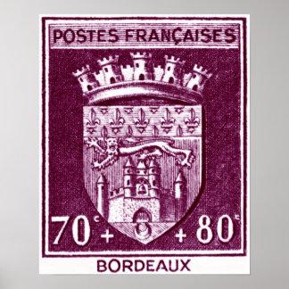 Escudo de armas, Burdeos Francia Póster