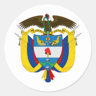 Escudo de armas CO de Colombia Pegatina Redonda