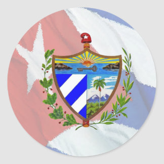 Escudo de armas cubano en bandera cubana pegatina redonda