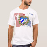Escudo de armas cubano en bandera cubana playera