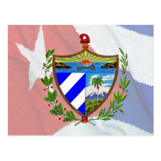 Escudo de armas cubano en bandera cubana tarjeta postal