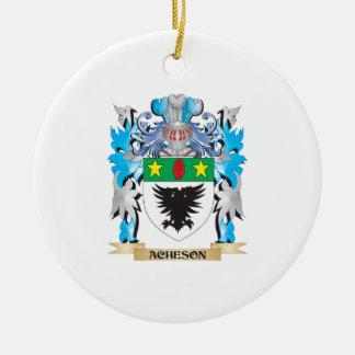 Escudo de armas de Acheson Adorno Navideño Redondo De Cerámica