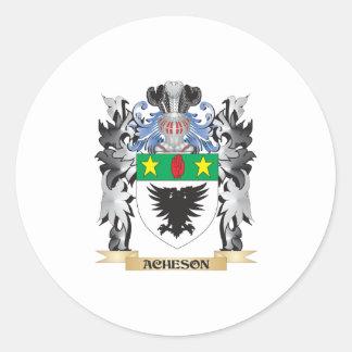 Escudo de armas de Acheson - escudo de la familia Pegatina Redonda