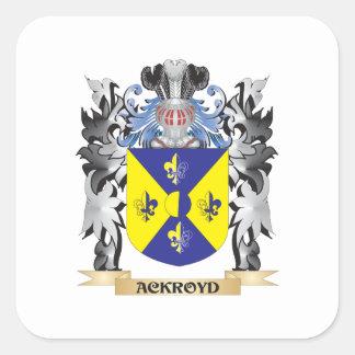 Escudo de armas de Ackroyd - escudo de la familia Pegatina Cuadrada