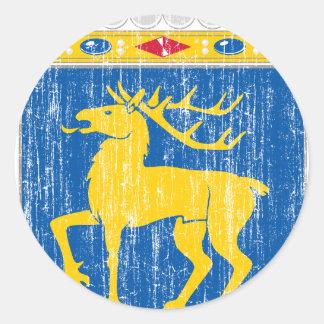Escudo de armas de Aland Pegatina Redonda