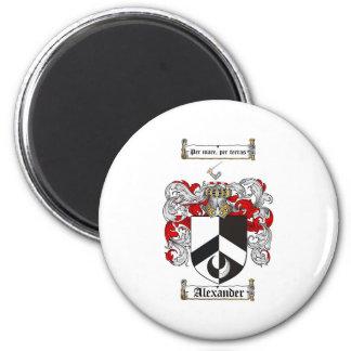 Escudo de armas de Alexander/escudo de la familia  Imán Redondo 5 Cm