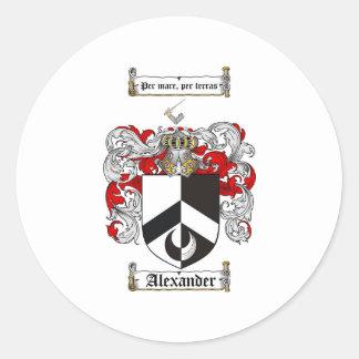 Escudo de armas de Alexander/escudo de la familia Pegatina Redonda