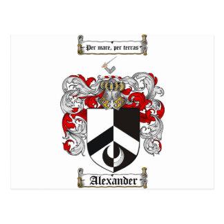 Escudo de armas de Alexander/escudo de la familia Postales