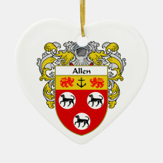 Escudo de armas de Allen/escudo de la familia Adorno De Cerámica En Forma De Corazón