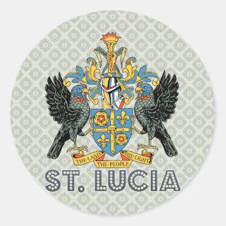 Escudo de armas de alta calidad de St Lucia Pegatina Redonda