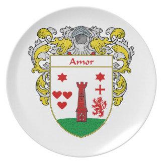 Escudo de armas de Amor/escudo de la familia: Plato Para Fiesta