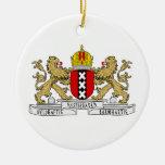 Escudo de armas de Amsterdam Adorno Navideño Redondo De Cerámica