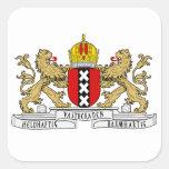 Escudo de armas de Amsterdam Pegatina Cuadrada