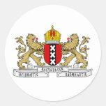 Escudo de armas de Amsterdam Pegatina Redonda
