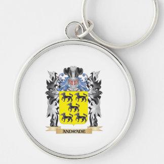 Escudo de armas de Andrade - escudo de la familia Llavero Redondo Plateado