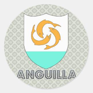 Escudo de armas de Anguila Etiquetas Redondas