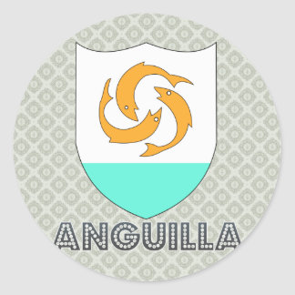 Escudo de armas de Anguila Pegatina Redonda