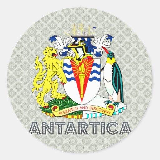 Escudo de armas de Antartica Pegatina Redonda