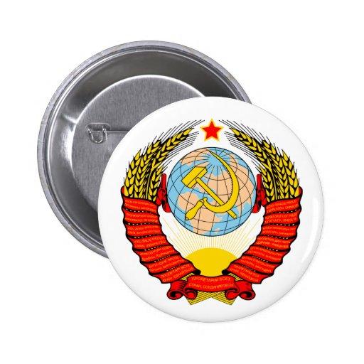 Escudo de armas de antigua Unión Soviética Pin Redondo 5 Cm
