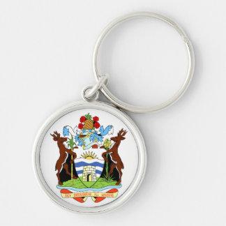 Escudo de armas de Antigua y de Barbuda Llavero Redondo Plateado