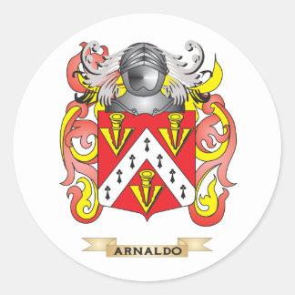 Escudo de armas de Arnaldo (escudo de la familia) Pegatinas Redondas