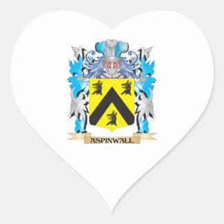 Escudo de armas de Aspinwall Pegatina De Corazon Personalizadas