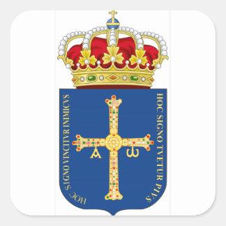 Escudo de armas de Asturias (España) Pegatina Cuadrada