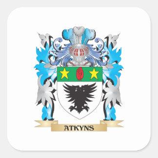 Escudo de armas de Atkyns Pegatina Cuadradas