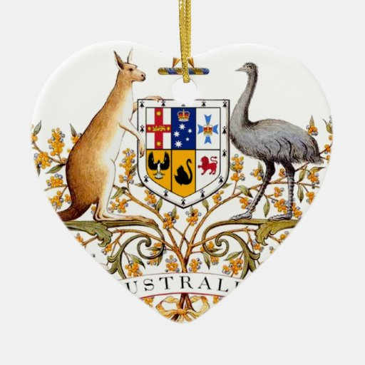 Escudo de armas de Australia Adorno Navideño De Cerámica En Forma De Corazón