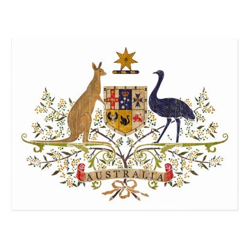 Escudo de armas de Australia del vintage Postal