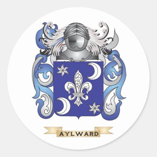 Escudo de armas de Aylward (escudo de la familia) Pegatina Redonda