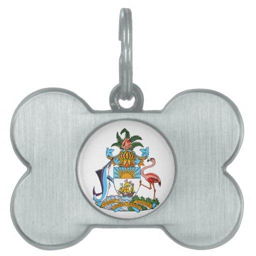 Escudo de armas de Bahamas Placas De Nombre De Mascota