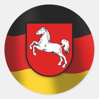 Escudo de armas de Baja Sajonia Pegatina Redonda