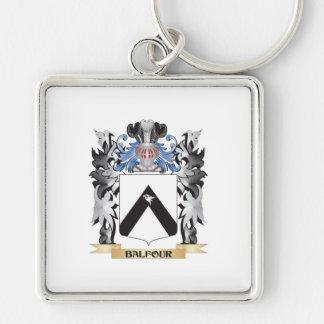 Escudo de armas de Balfour - escudo de la familia Llavero Cuadrado Plateado