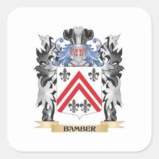 Escudo de armas de Bamber - escudo de la familia Pegatina Cuadrada