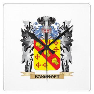 Escudo de armas de Bancroft - escudo de la familia Reloj Cuadrado