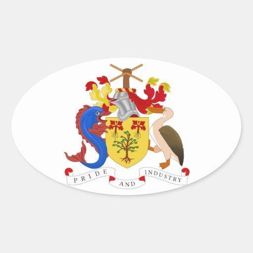 Escudo de armas de Barbados Calcomania De Oval
