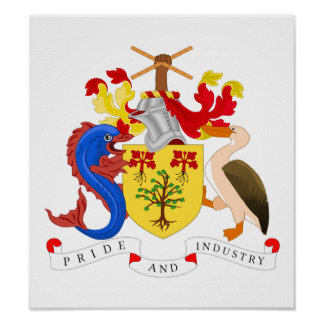 Escudo de armas de Barbados Póster