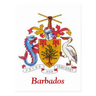 Escudo de armas de Barbados Tarjeta Postal