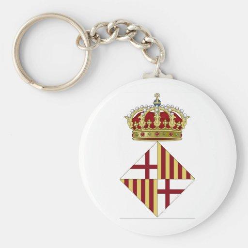 Escudo de armas de Barcelona (España) Llavero Redondo Tipo Pin