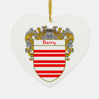 Escudo de armas de Barry/escudo de la familia Adorno De Cerámica En Forma De Corazón