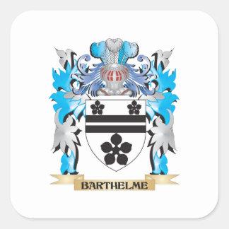 Escudo de armas de Barthelme Calcomanias Cuadradas