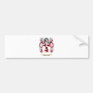 Escudo de armas de Barton (escudo de la familia) Etiqueta De Parachoque