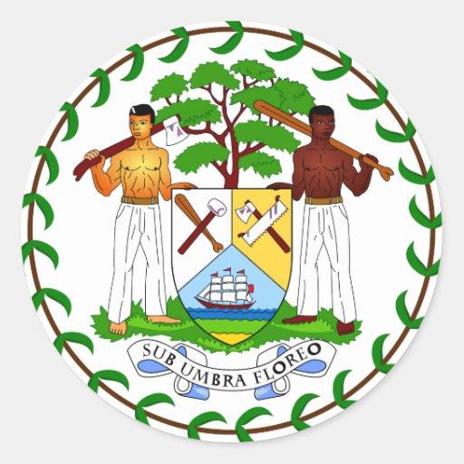 Escudo de armas de Belice Pegatina Redonda