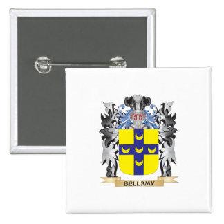 Escudo de armas de Bellamy - escudo de la familia Pin Cuadrada 5 Cm