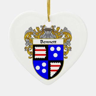Escudo de armas de Bennett/escudo de la familia Adorno De Cerámica En Forma De Corazón