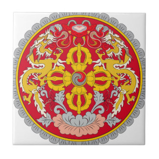 Escudo de armas de Bhután Azulejo Cuadrado Pequeño