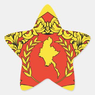 Escudo de armas de Birmania Pegatina En Forma De Estrella