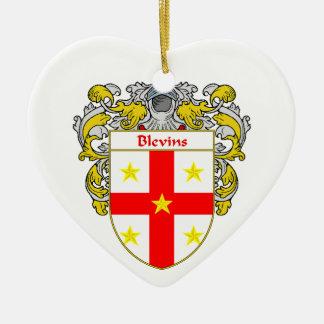 Escudo de armas de Blevins/escudo de la familia Adorno De Cerámica En Forma De Corazón